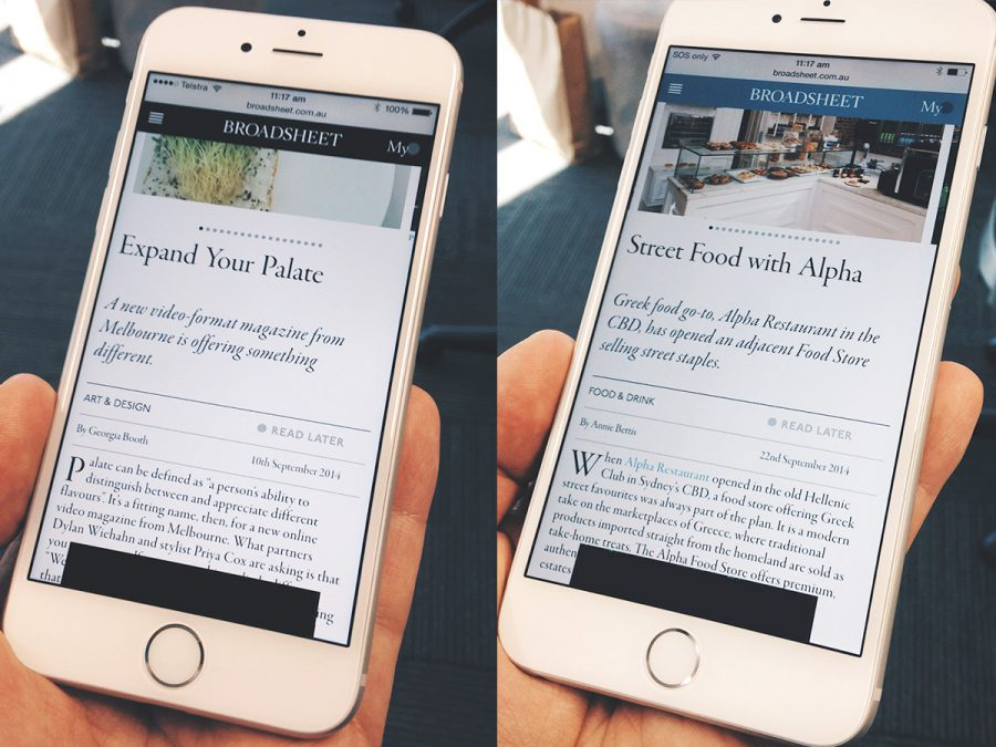 Quick study of web text and typography on an iPhone 6 and iPhone 6 Plus
