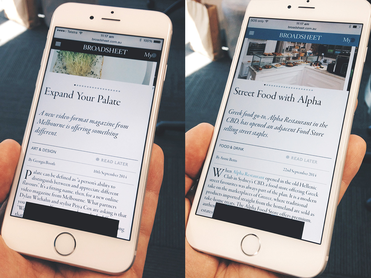 A broadsheet article with headings on an iPhone 6, and iPhone 6 Plus side by side.
